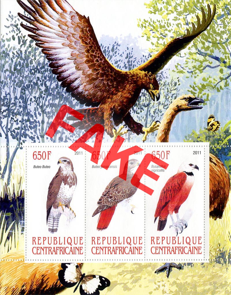 Fake postage stamps of Central African Republic. Birds