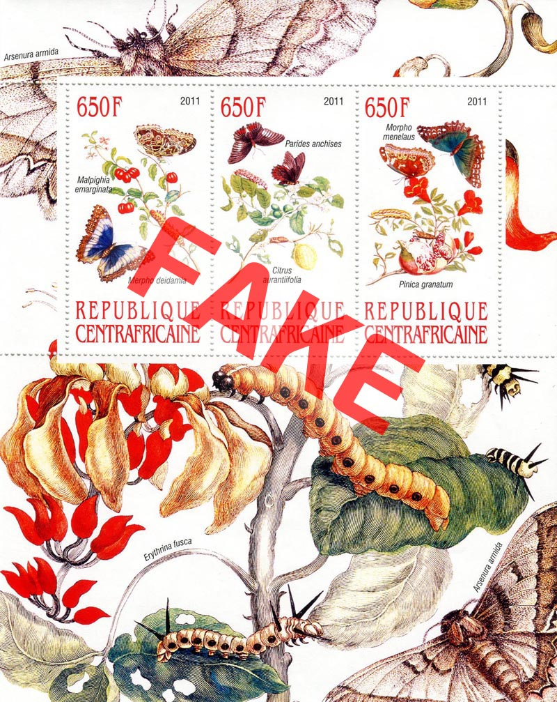 Fake postage stamps of Central African Republic. Butterflies