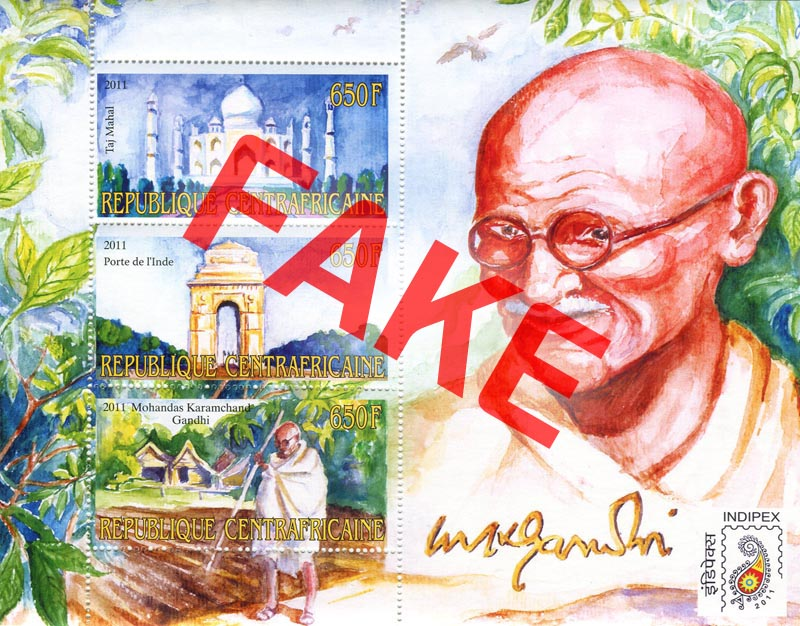 Fake postage stamps of Central African Republic. Mahatma Gandhi (2)