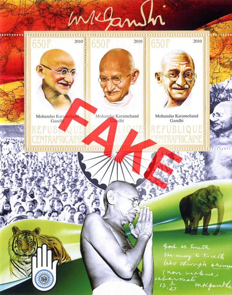 Fake postage stamps of Central African Republic. Mahatma Gandhi (3)
