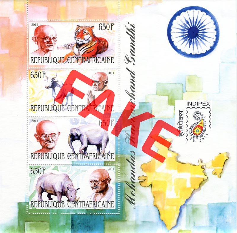 Fake postage stamps of Central African Republic. Mahatma Gandhi