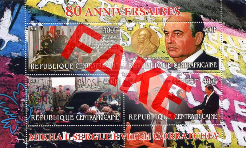 Fake postage stamps of Central African Republic. Mikhail Gorbatchev