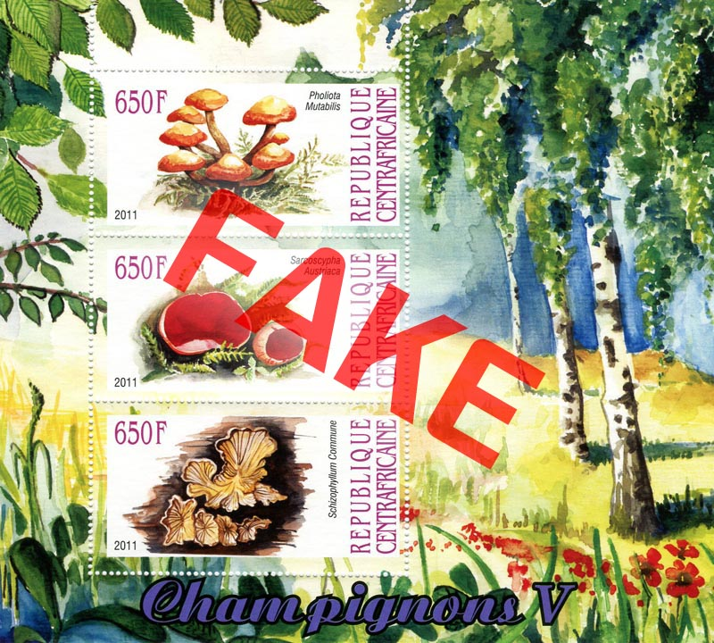 Fake postage stamps of Central African Republic. Mushrooms (2)