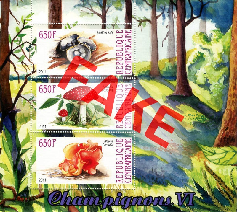 Fake postage stamps of Central African Republic. Mushrooms (3)