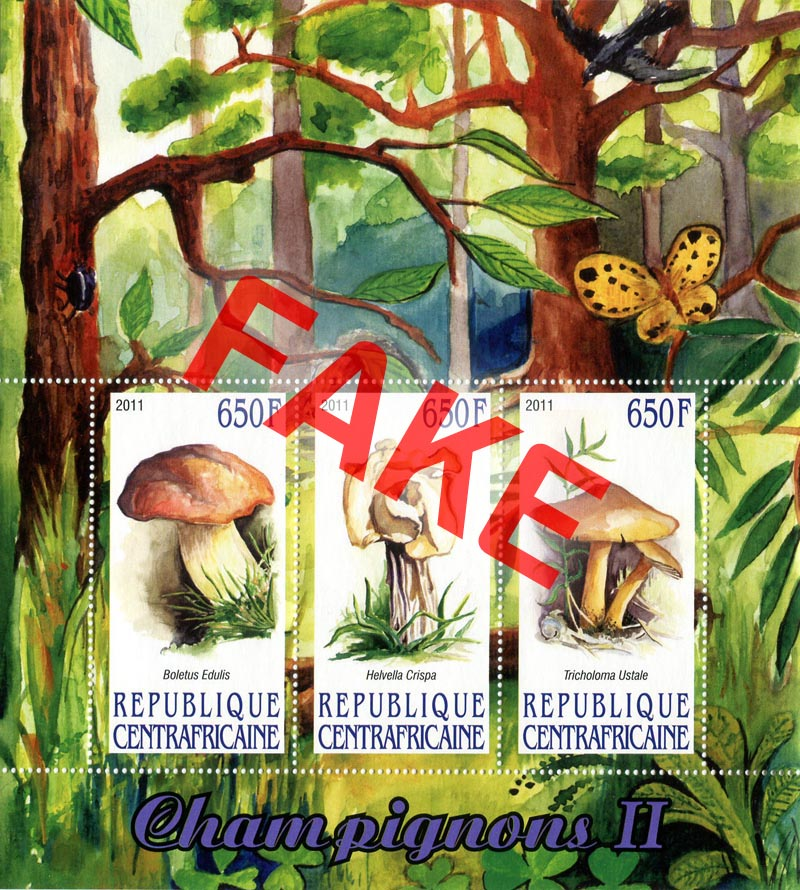 Fake postage stamps of Central African Republic. Mushrooms (6)