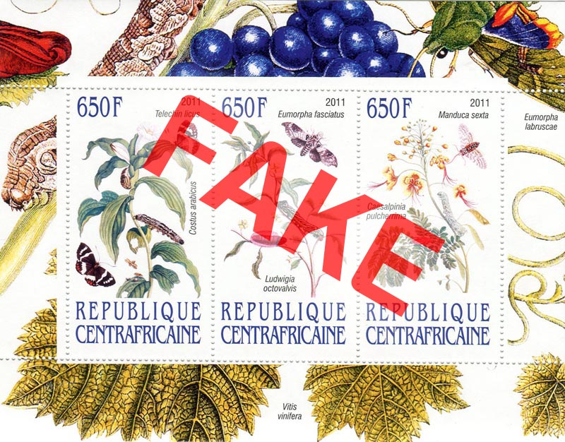Fake postage stamps of Central African Republic. Plants (2)