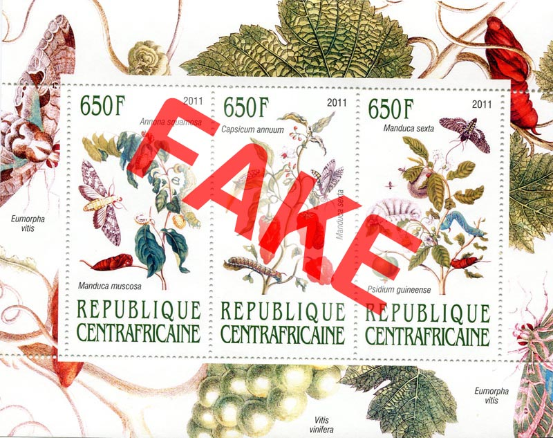 Fake postage stamps of Central African Republic. Plants