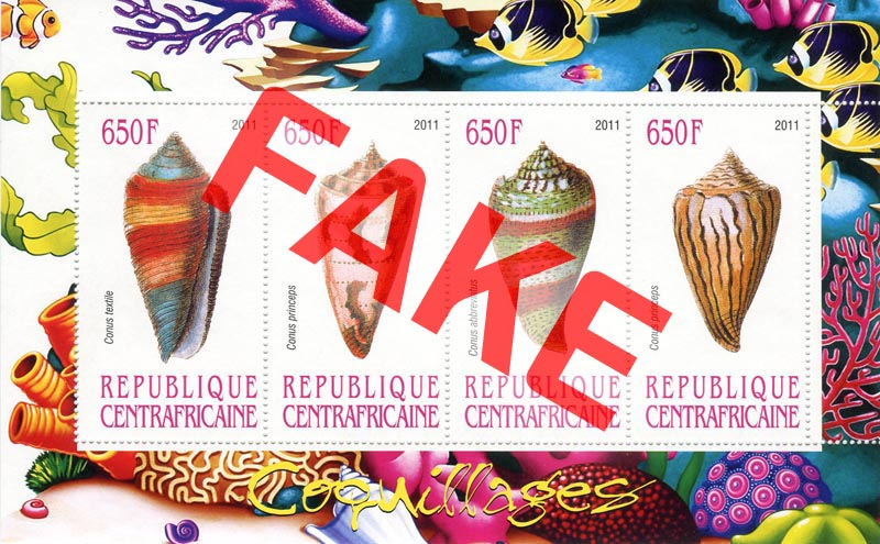 Fake postage stamps of Central African Republic. Seashells (2)