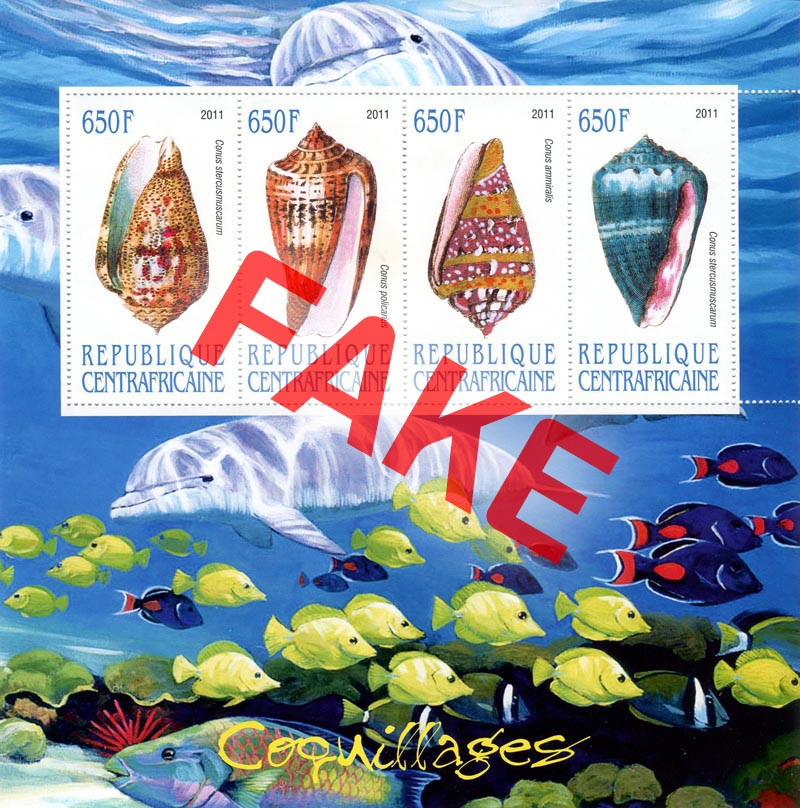 Fake postage stamps of Central African Republic. Seashells (4)