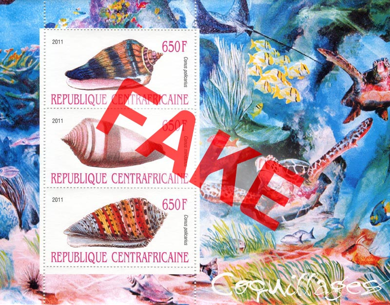 Fake postage stamps of Central African Republic. Seashells