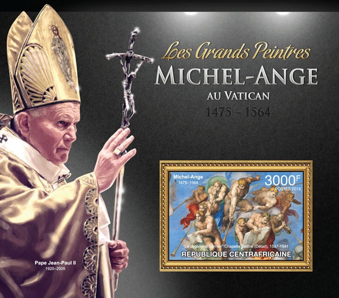 Michelangelo and Raphael in Vatican - Issue of Central African republic postage stamps