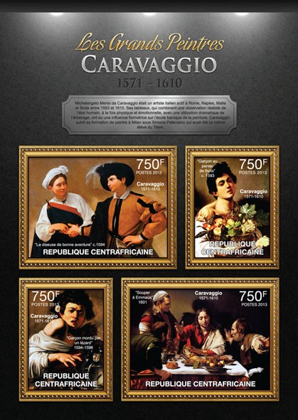 Carravaggio - Issue of Central African republic postage stamps