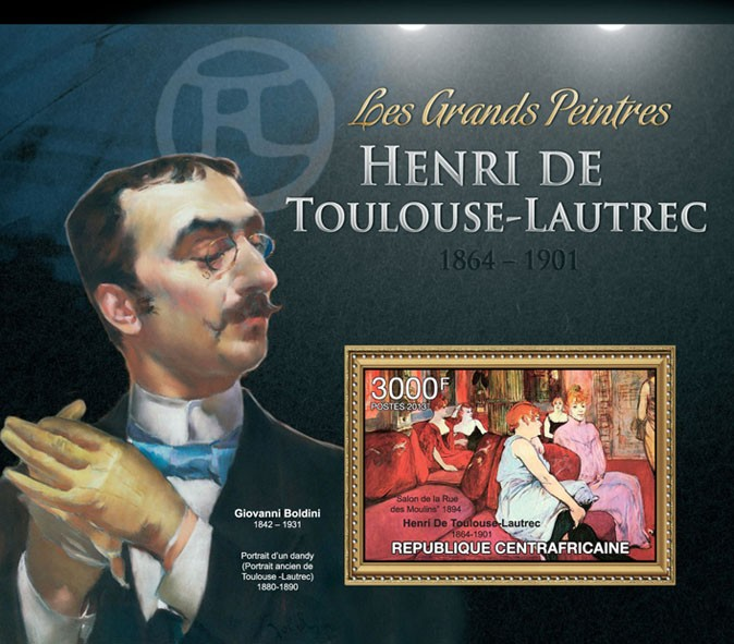 Henti Toulouse - Lautrec - Issue of Central African republic postage stamps