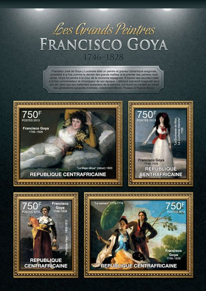 Francisco Goya - Issue of Central African republic postage stamps
