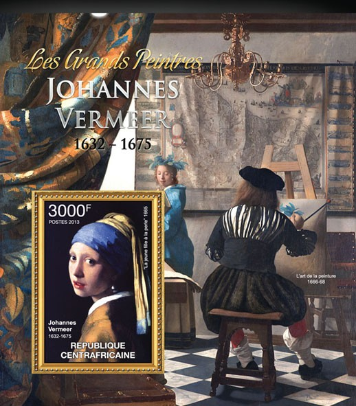 Johannes Vermeer - Issue of Central African republic postage stamps