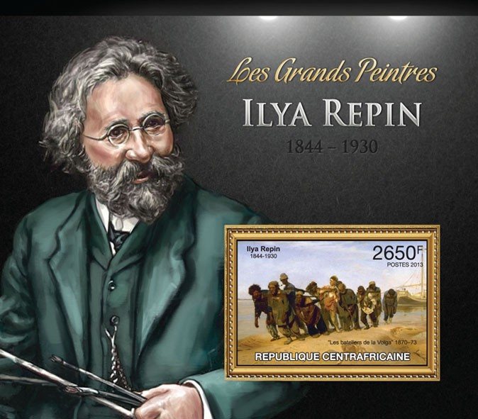 Ilya Repin - Issue of Central African republic postage stamps