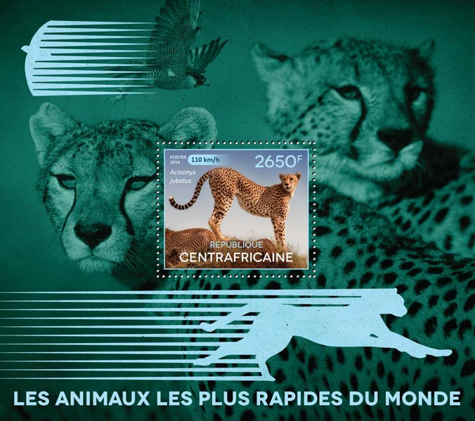 The fastest animals - Issue of Central African republic postage stamps