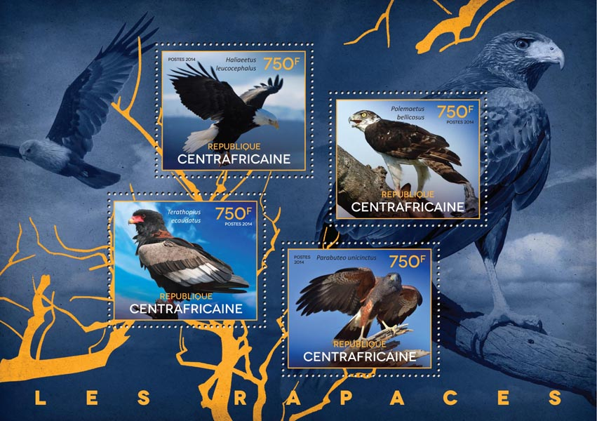 Birds of prey - Issue of Central African republic postage stamps