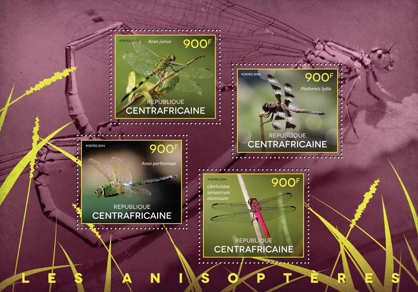 Dragonflies - Issue of Central African republic postage stamps