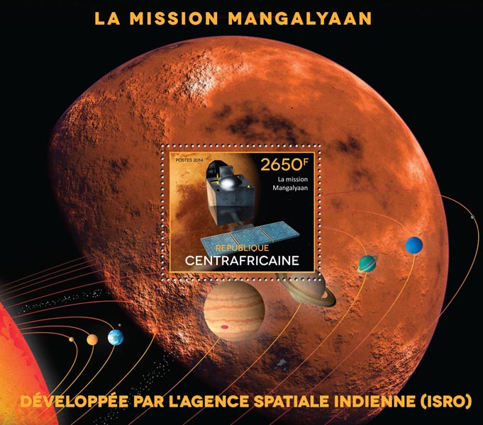 The mission Mangalyaan - Issue of Central African republic postage stamps