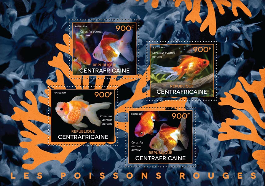 Goldfishes - Issue of Central African republic postage stamps