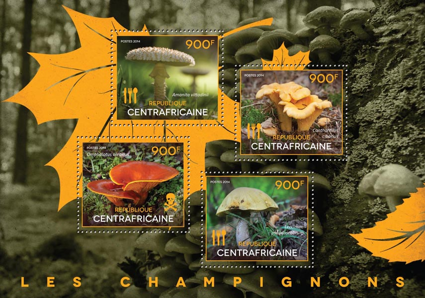 Mushrooms - Issue of Central African republic postage stamps