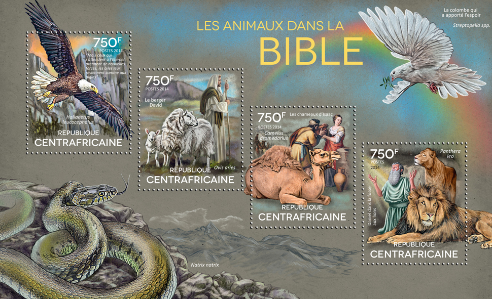 Animals - Issue of Central African republic postage stamps