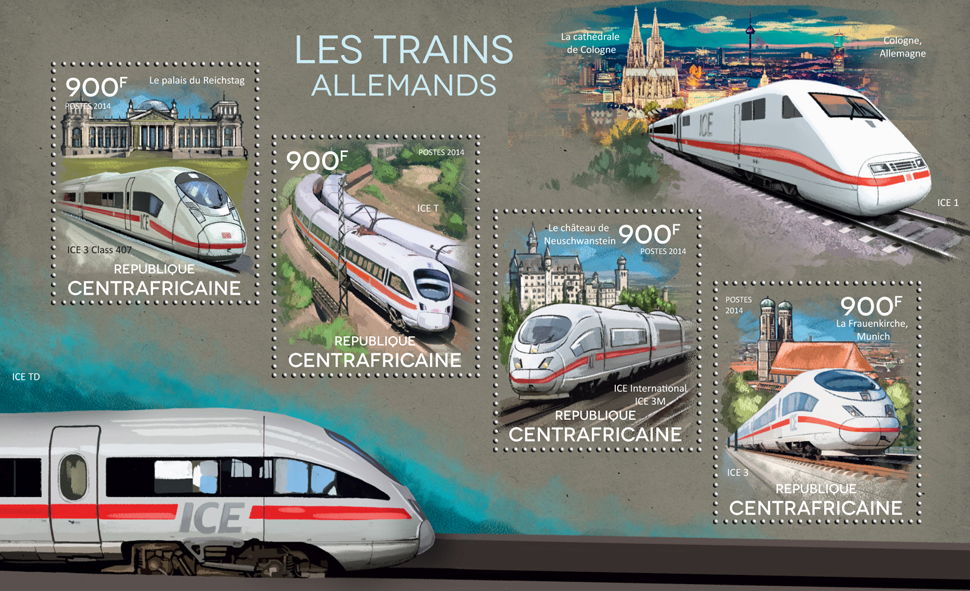 German trains - Issue of Central African republic postage stamps