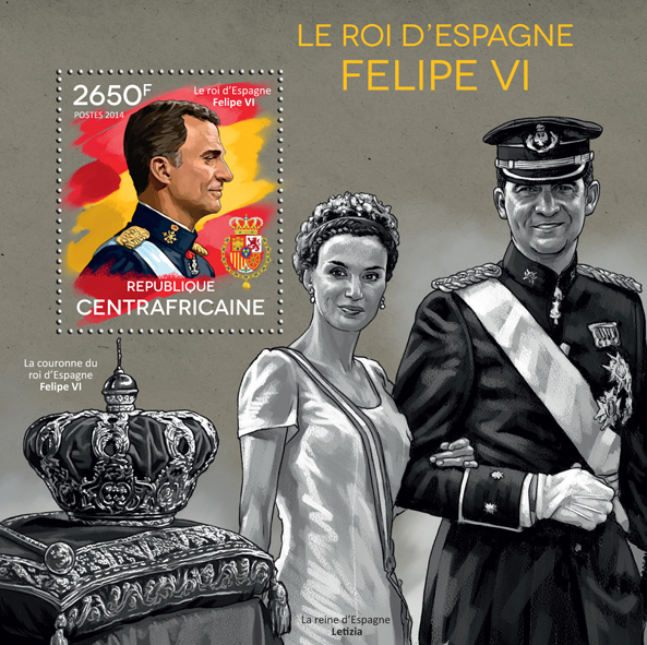 Felipe VI - Issue of Central African republic postage stamps
