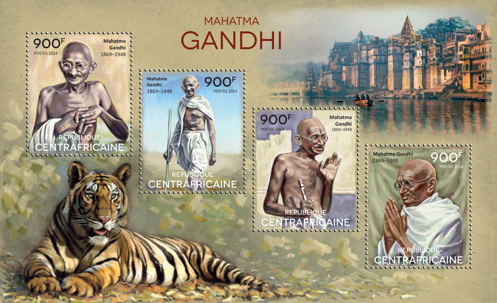 Gandhi - Issue of Central African republic postage stamps