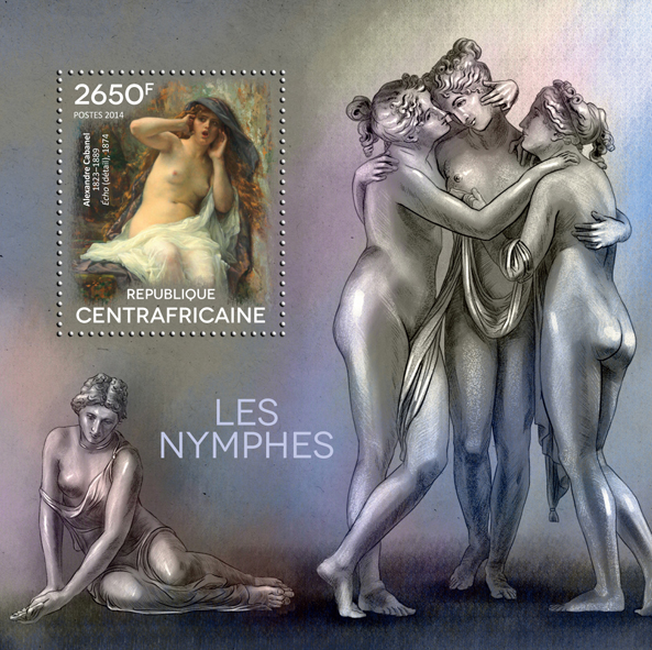 Nymphs - Issue of Central African republic postage stamps