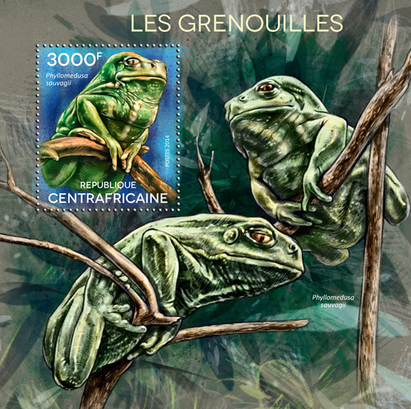 Frogs - Issue of Central African republic postage stamps
