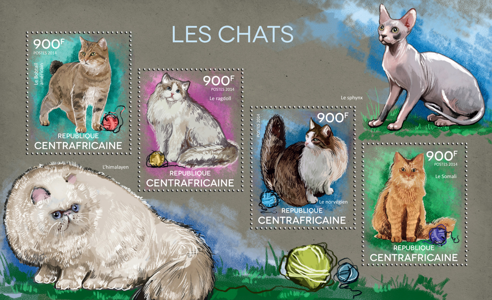 Cats - Issue of Central African republic postage stamps