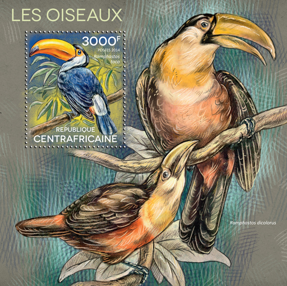 Birds - Issue of Central African republic postage stamps