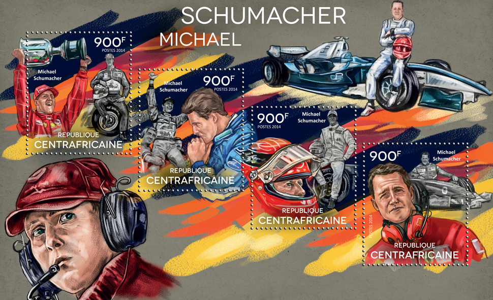 Michael Schumacher  - Issue of Central African republic postage stamps