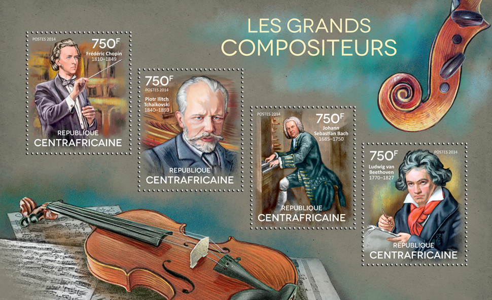 The Great composers - Issue of Central African republic postage stamps