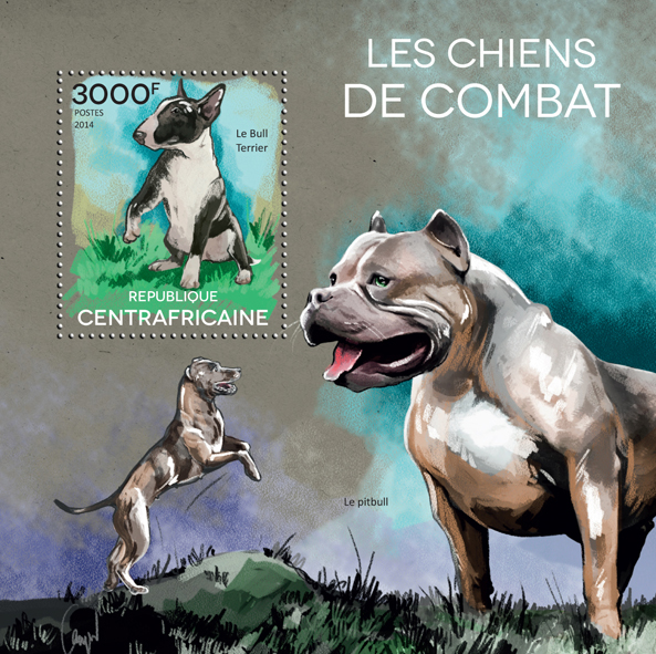 Fight dogs - Issue of Central African republic postage stamps