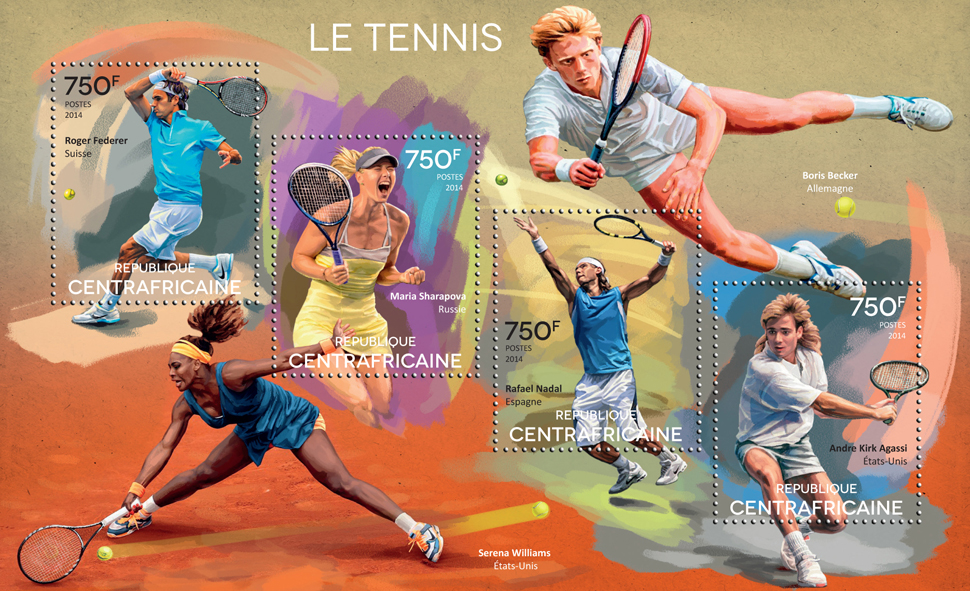 Tennis - Issue of Central African republic postage stamps