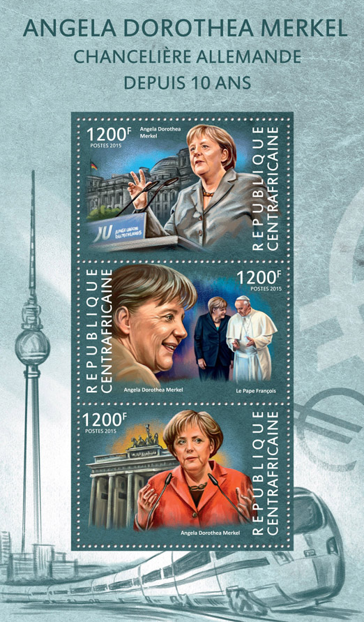 Angela Dorothea Merkel - Issue of Central African republic postage stamps