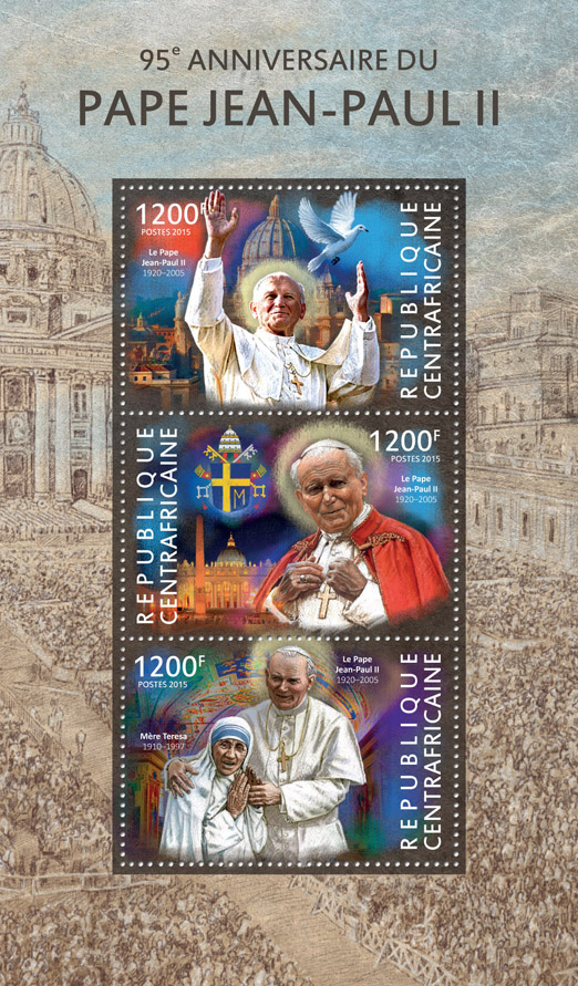 John Paul II  - Issue of Central African republic postage stamps