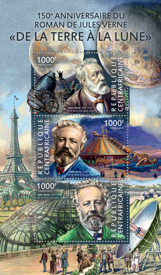 Jules Verne - Issue of Central African republic postage stamps