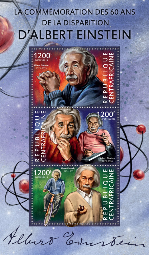 Albert Einstein  - Issue of Central African republic postage stamps