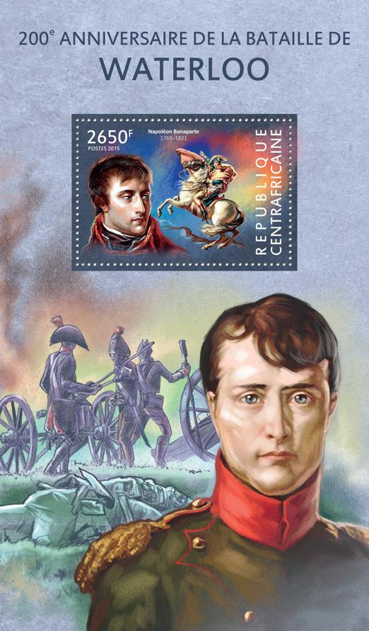 battle of Waterloo - Issue of Central African republic postage stamps