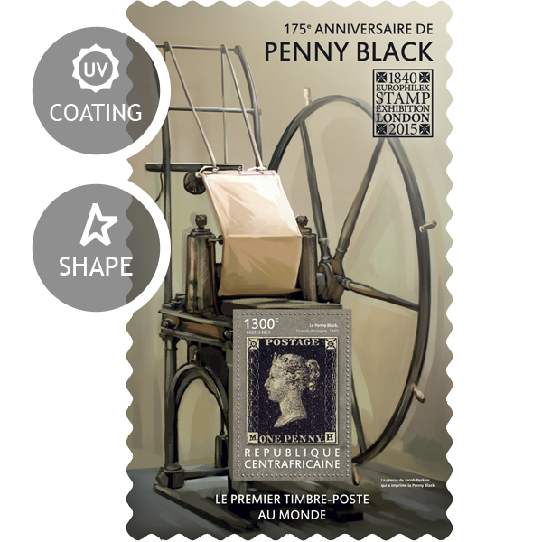 Penny Black - Issue of Central African republic postage stamps
