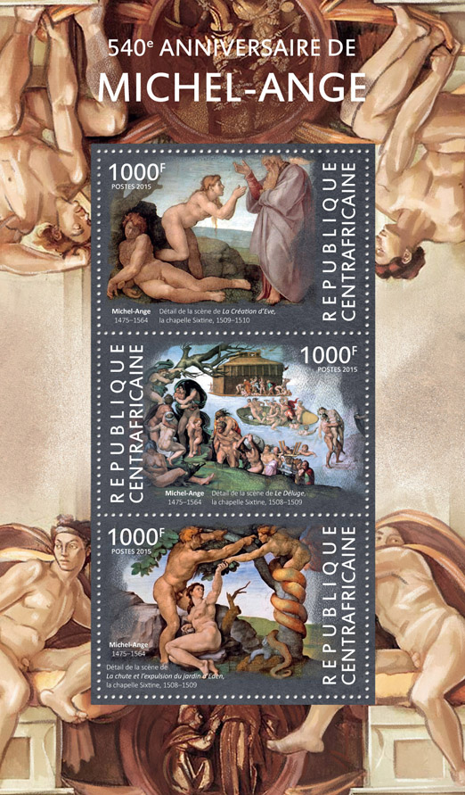 Michelangelo - Issue of Central African republic postage stamps