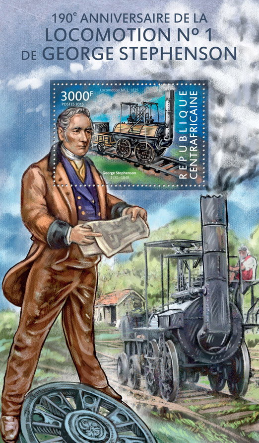 George Stephenson - Issue of Central African republic postage stamps