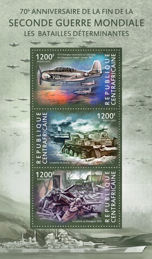 World War II  - Issue of Central African republic postage stamps