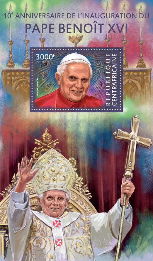 Benedict XVI  - Issue of Central African republic postage stamps