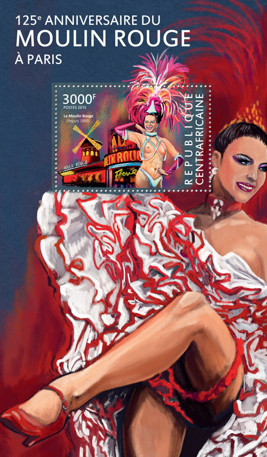 Moulin Rouge - Issue of Central African republic postage stamps