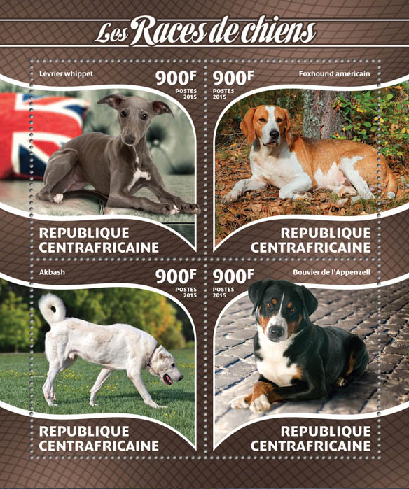 Dog - Issue of Central African republic postage stamps